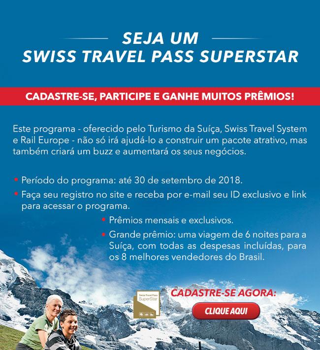 Seja um SWISS TRAVEL PASS SUPERSTAR e ganhe prêmios!
