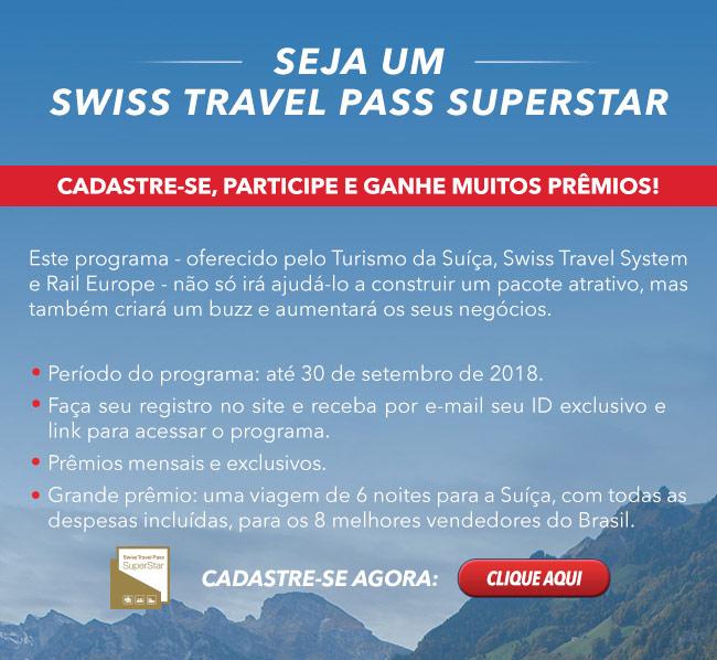 Quer ganhar uma viagem? Participe do SWISS TRAVEL PASS SUPERSTAR