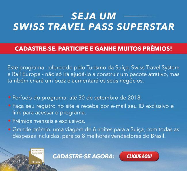 Quer ganhar muitos prêmios? Seja um SWISS TRAVEL PASS SUPERSTAR