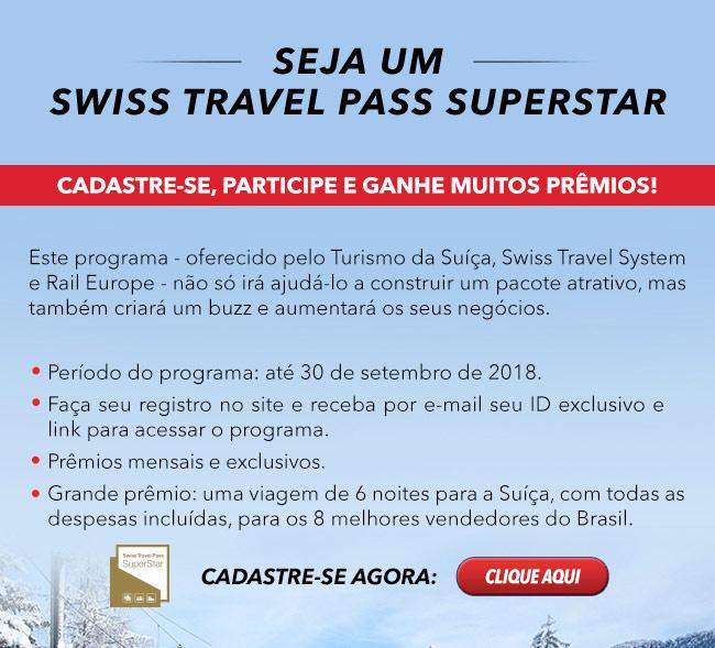 Seja um SWISS TRAVEL PASS SUPERSTAR!