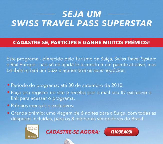 Seja um SWISS TRAVEL PASS SUPERSTAR! Cadastre-se e ganhe prêmios!  Cadastre-se agora: CLIQUE AQUI