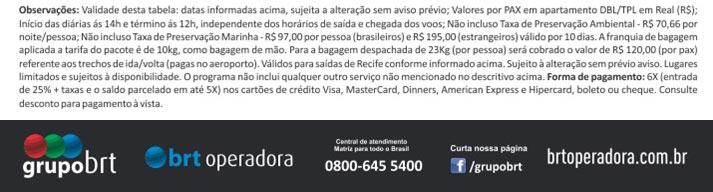 BRT OPERADORA - FALE CONOSCO   www.grupobrt.com.br