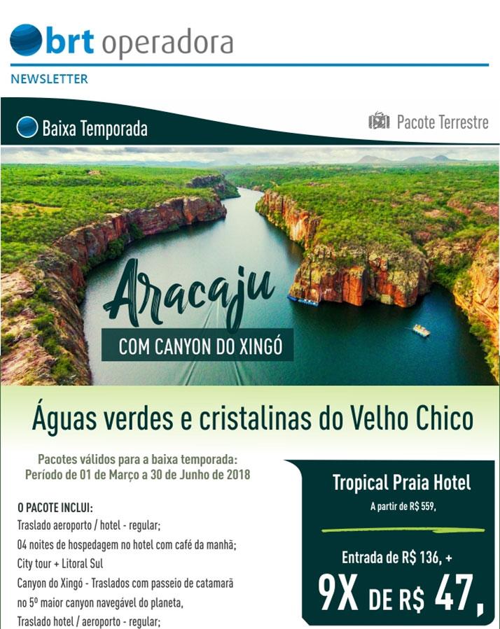 ARACAJÚ COM CANYON DO XINGÓ     BAIXA TEMPORADA - PACOTE TERRESTRE  -  BRT OPERADORA   www.grupobrt.com.br