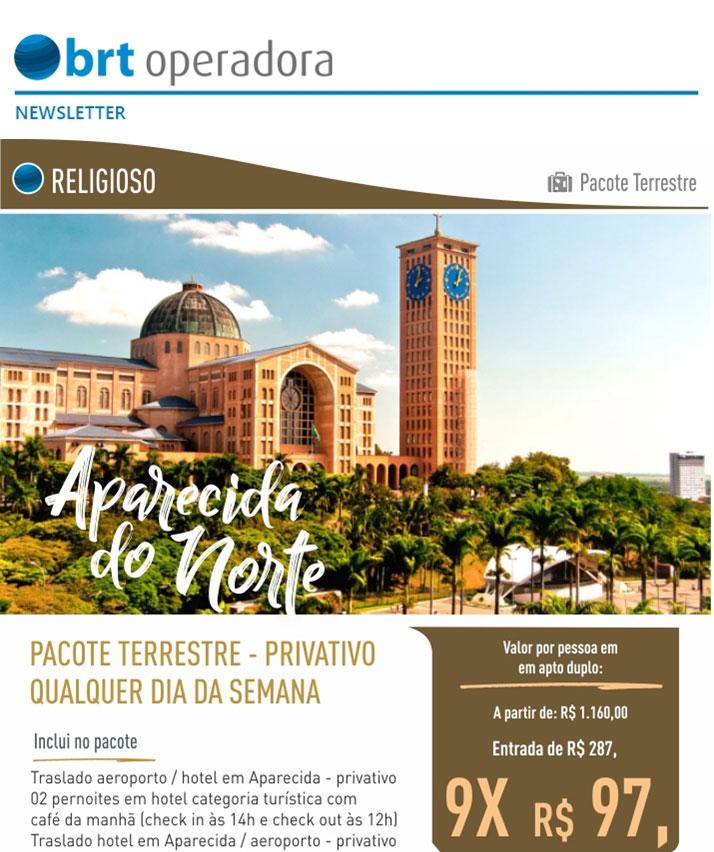 RELIGIOSO - PACOTE TERRESTRE   APARECIDA DO NORTE  -  BRT OPERADORA   www.grupobrt.com.br