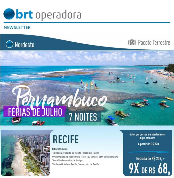 NORDESTE - PERNAMBUCO FÉRIAS DE JULHO 7 NOITES  -  BRT OPERADORA   www.grupobrt.com.br