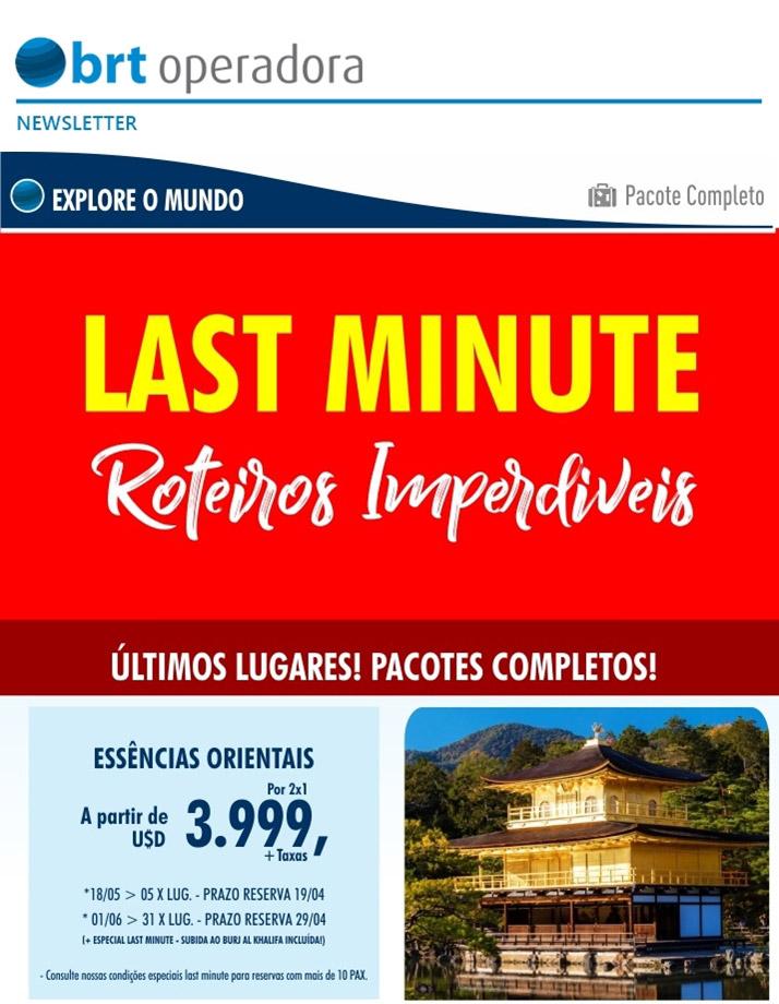 LAST MINUTE ROTEIROS IMPERDÍVEIS - ÚLTIMOS LUGARES! PACOTES COMPLETOS!  -  BRT OPERADORA   www.grupobrt.com.br