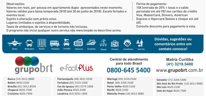 BRT OPERADORA - FALE CONOSCO | www.grupobrt.com.br