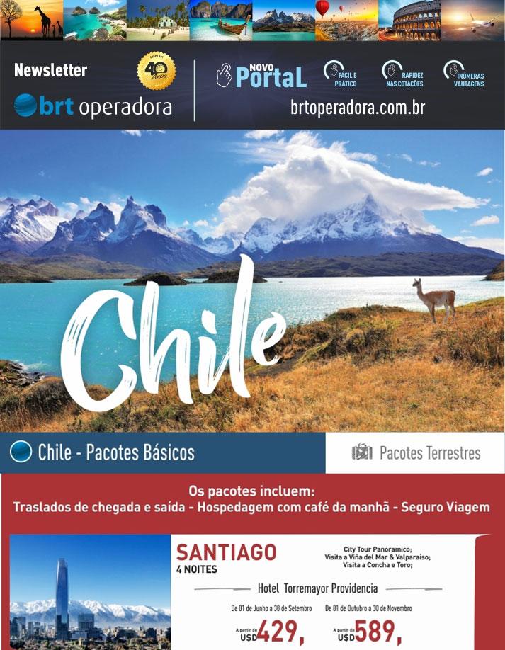 CHILE -  PACOTES BÁSICOS (SANTIAGO, PUERTO VARAS,  PUNTA ARENAS - PUERTO NATALES E CALAMA) |   BRT OPERADORA | www.grupobrt.com.br