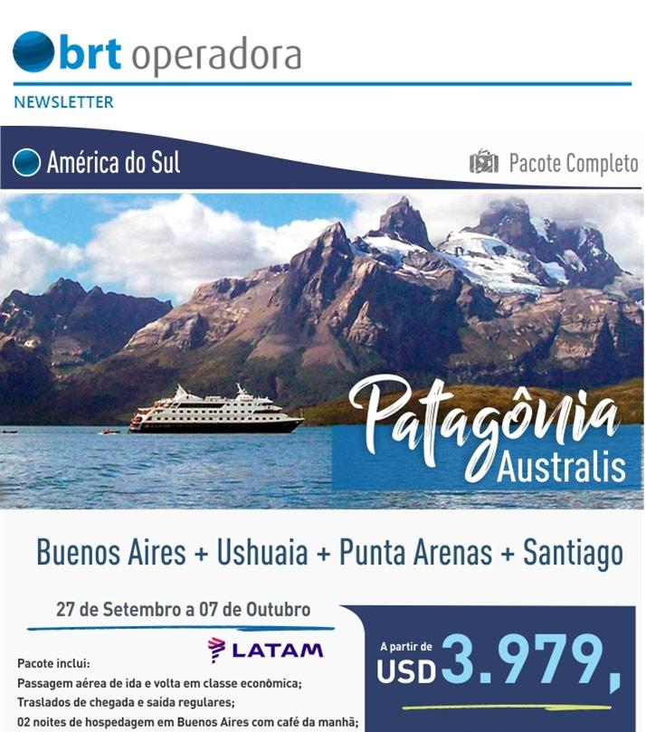 PATAGÔNIA |  BUENOS AIRES + ASHUAIA + PUNTA ARENAS + SANTIAGO  |  BRT OPERADORA | www.grupobrt.com.br