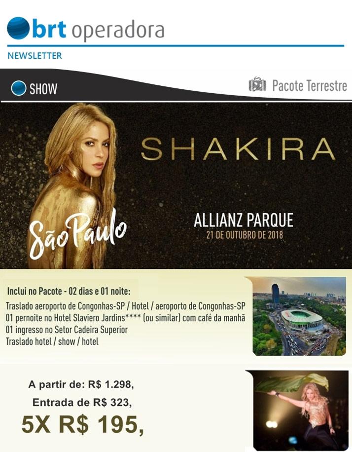 SHAKIRA - ALLIANZ PARQUE - SÃO PAULO - 21 DE OUTUBRO       BRT OPERADORA   www.grupobrt.com.br