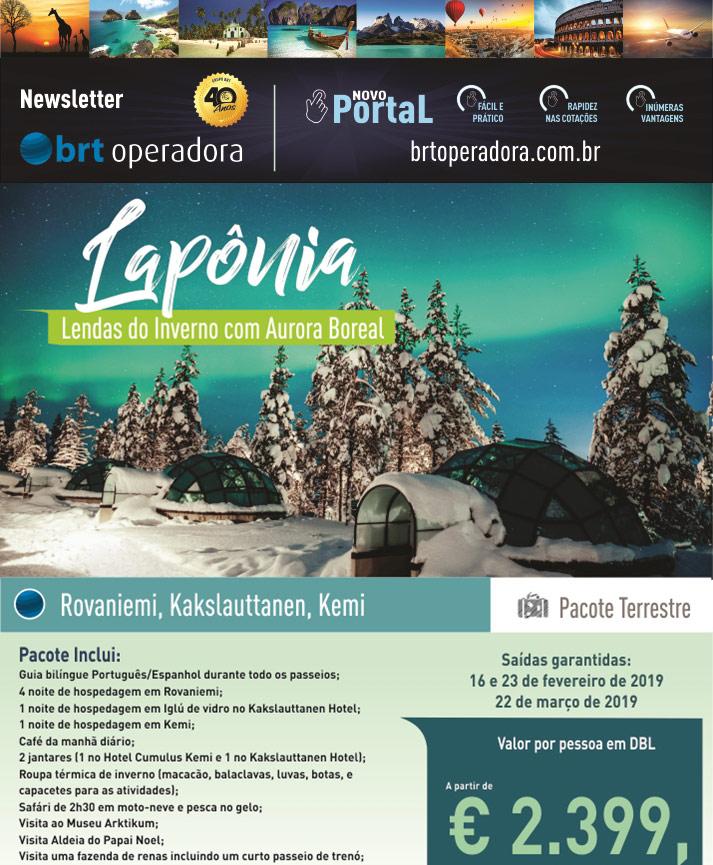 LAPÔNIA - LENDAS DO INVERNO COM AURORA BOREAL       BRT OPERADORA   www.grupobrt.com.br