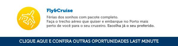 Férias dos sonhos com pacote completo. Faça o trecho aéreo que quiser e embarque no Porto mais perto de você para o seu cruzeiro. Escolha já o seu preferido.
