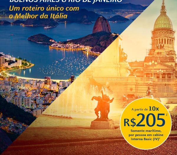 Buenos Aires e Rio de Janeiro - Um roteiro único com o Melhor da Itália - A partir de 10x de R$205