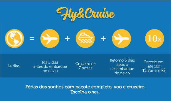 Férias dos sonhos com pacote completo, voo e cruzeiro.Escolha o seu.