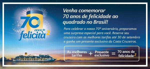 Venha comemorar os 70 anos de felicidade ao quadrado no Brasil
