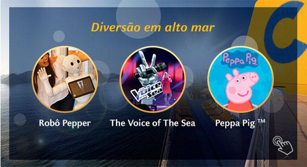 Diversão em alto mar, Robô Pepper, The Voice of The Sea e Peppa Pig