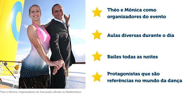 Théo e Mônica como organizadores do evento, Aulas diversas durante o dia, Bailes todas as noites, Protagonistas que são referências no mundo da dança
