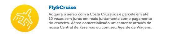 Adquira o aéreo com a Costa Cruzeiros e parcele em até 10 vezes sem juros em reais juntamente como pagamento do cruzeiro. Aéreo comercializado unicamente através de nossa Central de Reservas ou com seu Agente de Viagens.