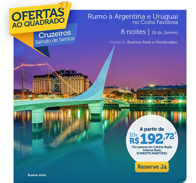 Rumo à Argentina e Uruguai no Costa Favolosa, 8 noite | 19 de Janeiro
