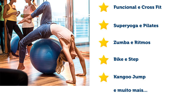 Funcional e Cross Fit, Superyoga e Pilates, Zumba e Ritmos, Bike e Step, Kangoo Jump
