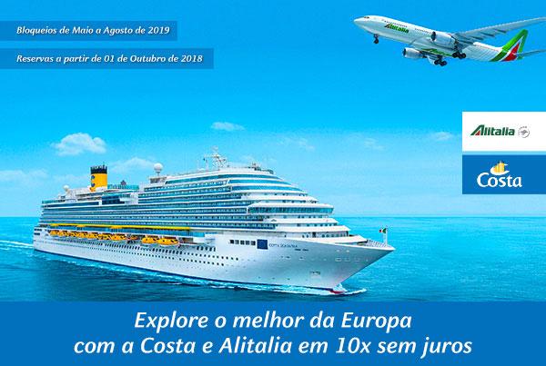 Explore o melhor da Europa com a Costa e Alitalia em 10x sem juros