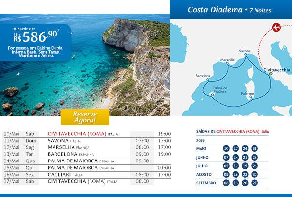 Costa Diadema - 7 Noites, a partir de 10x R$ 586,90