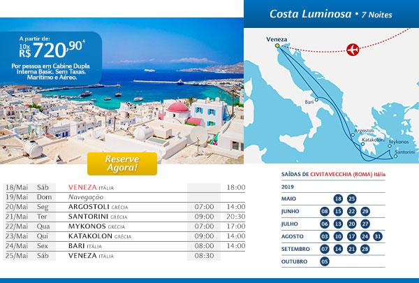 Costa Luminosa - 7 noites, a partir de 10x R$720,90