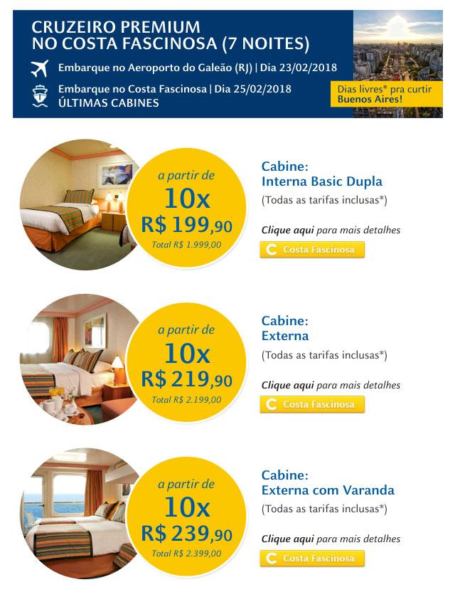 Cruzeiro Premium no Costa Fascinosa com Aéreo&Cruzeiro!