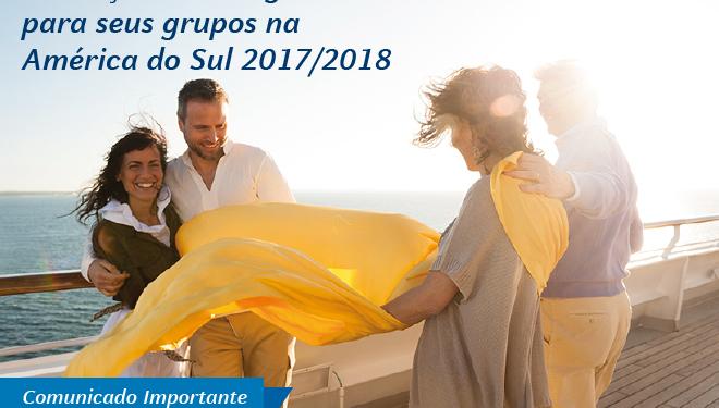 Conheça as vantagenspara seus grupos naAmérica do Sul 2017/2018