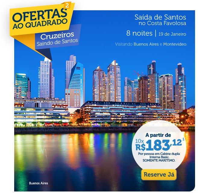 Ofertas ao quadrado, Cruzeiros Sando de Santos, a partir de 10x R$183,12