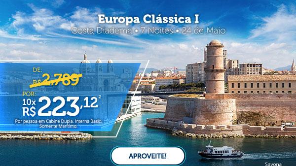 Europa Clássica I, Costa Diadema, 7 noite - 24 de Maio, Por 10x R$223,12