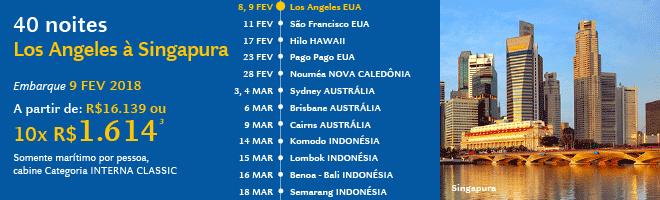 40 Noites | Los Angeles à Singapura | Embarque 9 FEV 2018 | A partir de 10x de R$ 1.614³