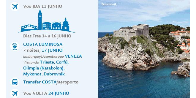COSTA LUMINOSA | 7 noites, 17 JUNHO | Embarque/Desembarque: VENEZA | Visitando: Trieste, Corfú, Olímpia (Katakolon), Mykonos, Dubrovnik