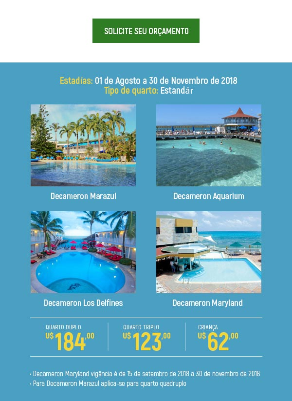 SOLICITE SEU ORÇAMENTO  -  DECAMERON ALL INCLUSIVE HOTELS & RESORTS