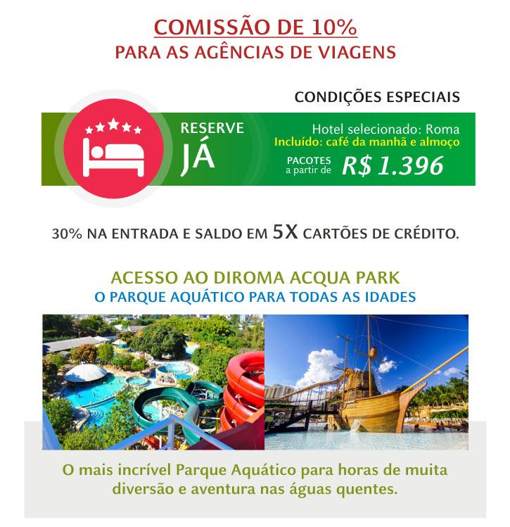 COMISSÃO AOS AGENTES DE VIAGENS  |  RESERVE JÁ  |  DIROMA ACQUA PARK