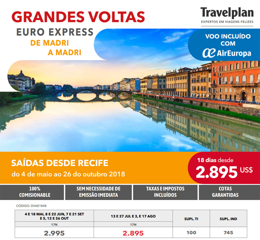 GRANDES VOLTAS - EURO EXPRESS DE MADRI A MADRI  -  VOO INCLUÍDO COM AIR EUROPA  |  TRAVELPLAN EXPERTOS EM VIAGENS FELIZES