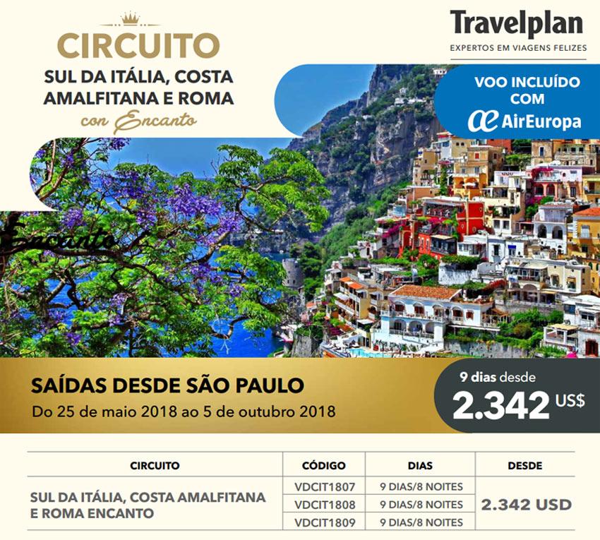 CIRCUITO SUL DA ITÁLIA, COSTA AMALFITANA E ROMA COM ENCANTO  |  TRAVELPLAN EXPERTOS EM VIAGENS FELIZES - www.travelplaninternacional.com