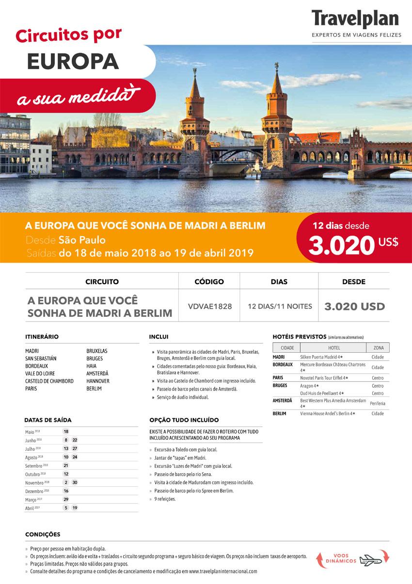 CIRCUITO POR EUROPA - A EUROPA QUE VOCÊ SONHA DE MADRI A BERLIM  |  TRAVELPLAN EXPERTOS EM VIAGENS FELIZES - www.travelplaninternacional.com