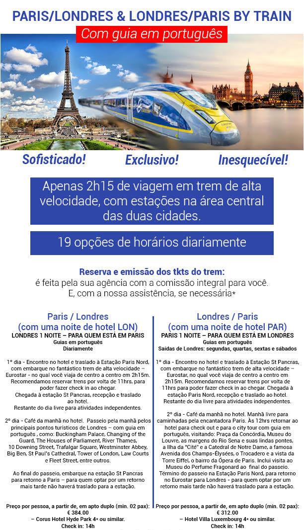 Paris/Londres & Londres/Paris by train - Guias em português!