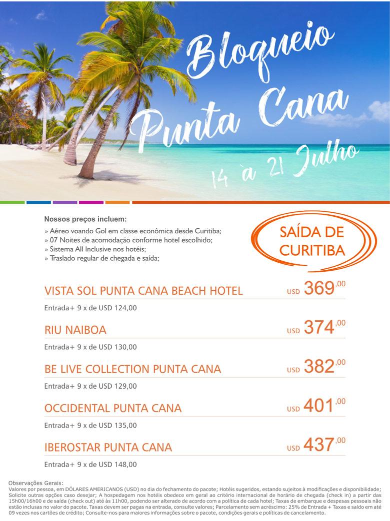 BLOQUEIO AÉREO GARANTIDO | BLOQUEIO PUNTA CANA - 14 à 21 DE JULHO