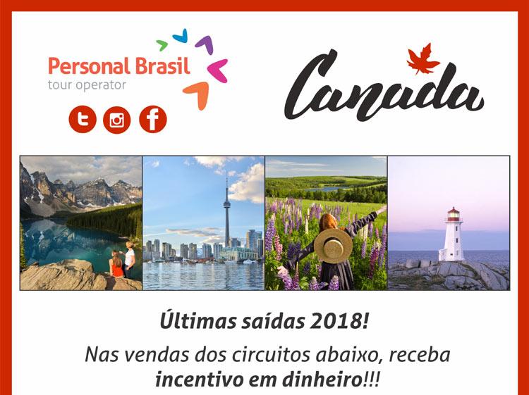 PERSONAL BRASIL  -  Promoção INCENTIVO em DINHEIRO! ÚLTIMAS SAÍDAS CANADÁ 2018!