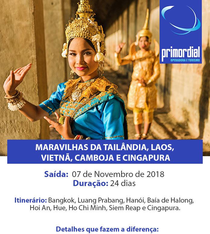 Tailândia, Laos, Vietnã, Camboja e Cingapura - 24 dias | Saída 07 de Novembro. Garanta o seu lugar!